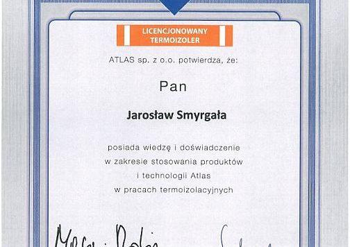 Certyfikat Atlas - Jarosław Smyrgała - AMEDO