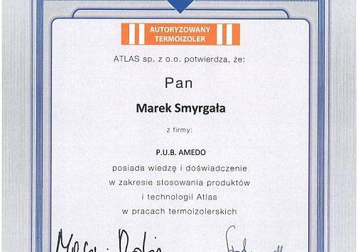 Certyfikat Atlas - Marek Smyrgała - AMEDO